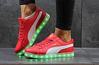 Подростковые кроссовки Puma LED, красные