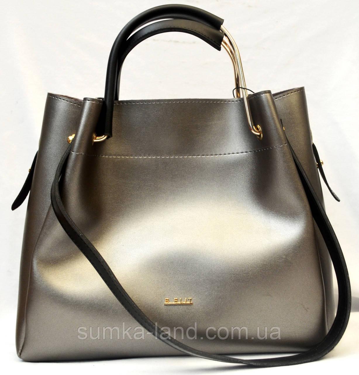 9fb9be5a4f6b Женская элитная сумка B Elit с ремешком (серебро с черной ручкой) - SUMKA-