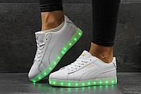 Кроссовки с подсветкой Puma, LED, белые
