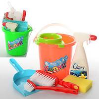 Набор для уборки 089-1 (48шт) ведро, совок,щетки, губка,моющее средство,2 цвета, в сетке, 17-20-17см