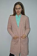 Кардиган женский длинный с карманами косичка Италия, фото 1