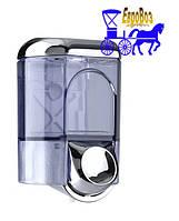 Дозатор жидкого мыла 0,35 л Италия прозрачный  и серебристо-глянцевый пластик
