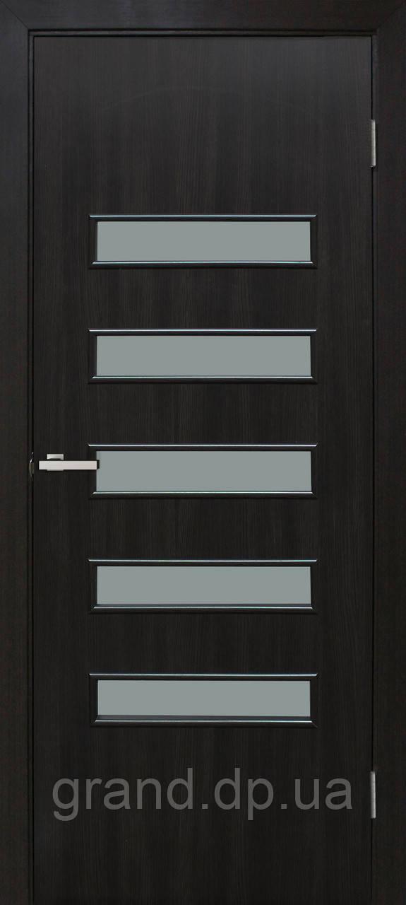 """Дверь межкомнатная остекленная  """"Аккорд 3 экошпон"""" венге"""