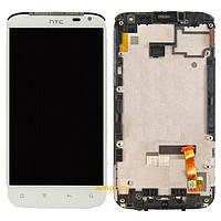 Дисплей (экран) для HTC X315e Sensation XL G21 + с сенсором (тачскрином) и рамкой белый