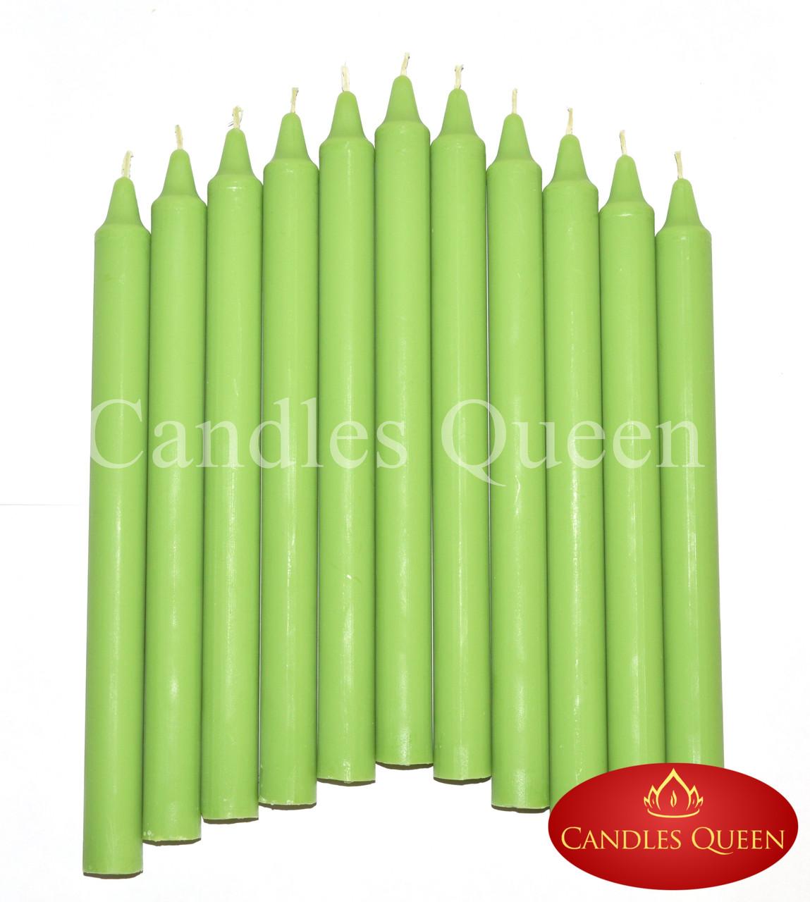 Свеча столовая зеленая 240х20 мм 16 шт упаковка