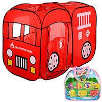Палатка M 1401 (10шт) пожарная  машина,128-91-58см,2входа,1вход с завязкой, 3окна,в сумке,39-38-5см