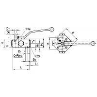 Шаровый кран блочный 3-х ходовой тип L, плитовый монтаж DN06