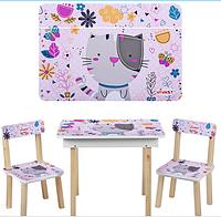 Детский столик со стульчиками и ящичком 503-5 Кошечка ***