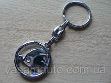 Брелок металлический простой Skoda логотип эмблема Шкода автомобильный на авто ключи