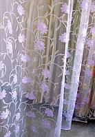 Тюль-органза сиреневые цветы
