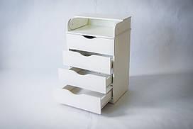 Комод-пеленатор из натурального дерева в детскую комнату белого цвета ТМ «DeSon»