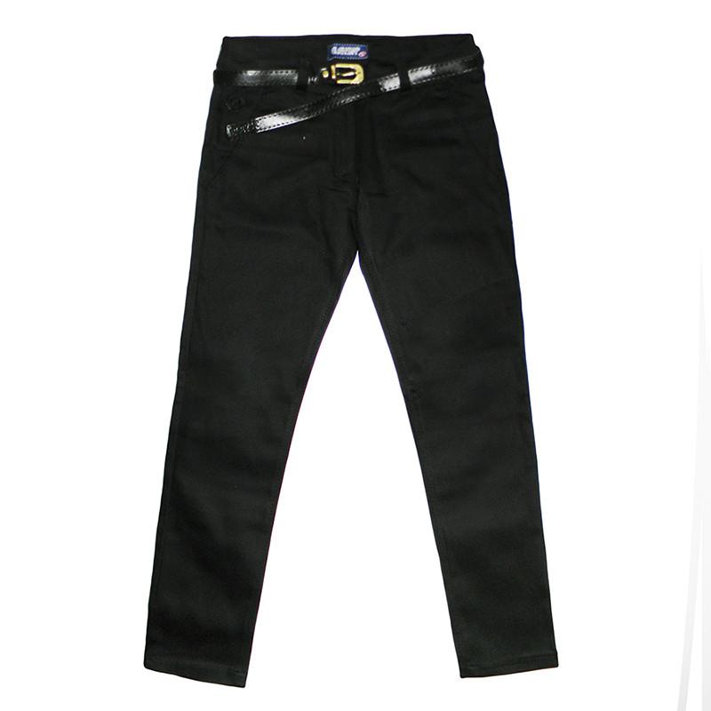 Штаны котон для девочки 5-8лет(110-128) черные арт.7055.2