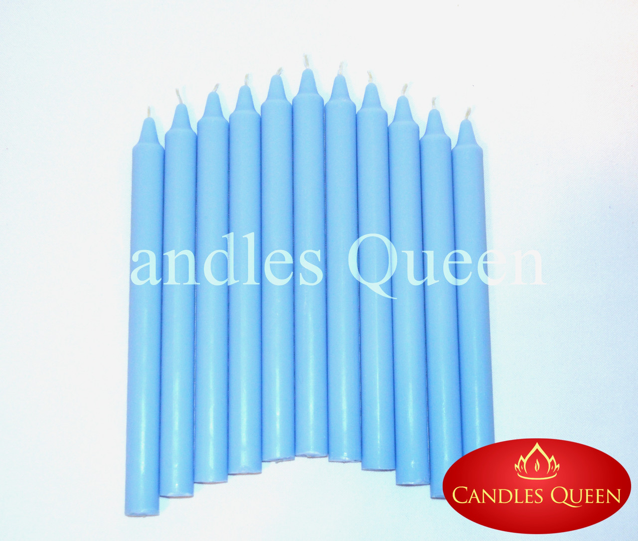 Свеча столовая голубая 240х20 мм