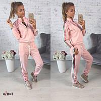 Костюм спортивный двойка, 🍒Ткань: турецкая двухнитка ,цвет розовый и серый фото реал вмил № 0037