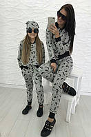 Family look спортивный костюм для мамы и дочки + шапочка