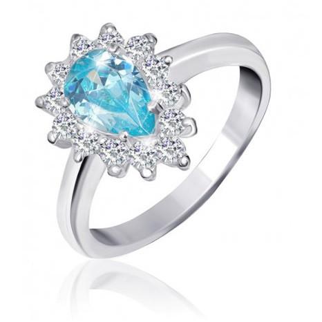 """Серебряное кольцо с имитацией топаза """"383"""""""