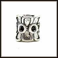 """Металл. бусина """"рондель"""" серебро (d 0,9 х 1 см) 5 шт в уп."""