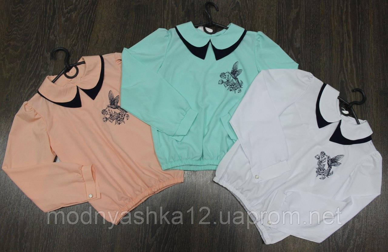 """Блузка-рубашка школьная для девочек, ткань софт, размеры 134, 140, 146, 152 см.  - Интернет-магазин """" Модняшка"""" в Одессе"""