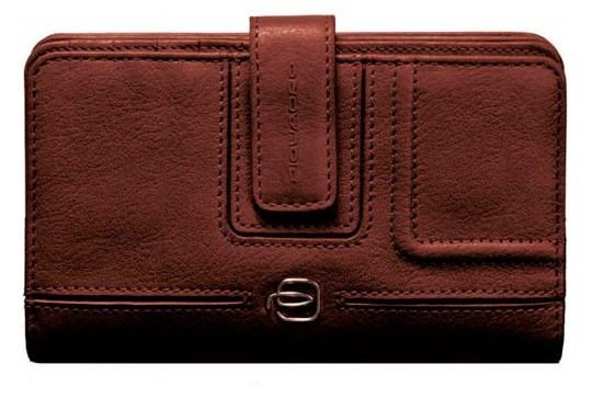 Замечательный женский кожаный кошелек Piquadro Blue Square с отделением для монет PD1353VI_M коричневый