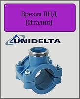 """Хомут для врезки Unidelta 90х1"""" PN16 ПНД"""
