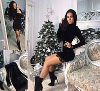 Женское Черное бархатное платье с кружевом Код 235 ем