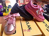Детские кеды с атласной шнуровкой для девочек Размеры 31-36, фото 1