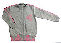 Кофта на змейке для девочек, серая с розовым (8-12 лет)