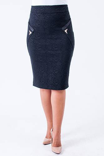 Красивая женская трикотажная юбка черная