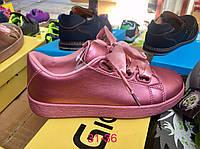 Детские розовые кеды с атласной шнуровкой Размеры 31-36, фото 1