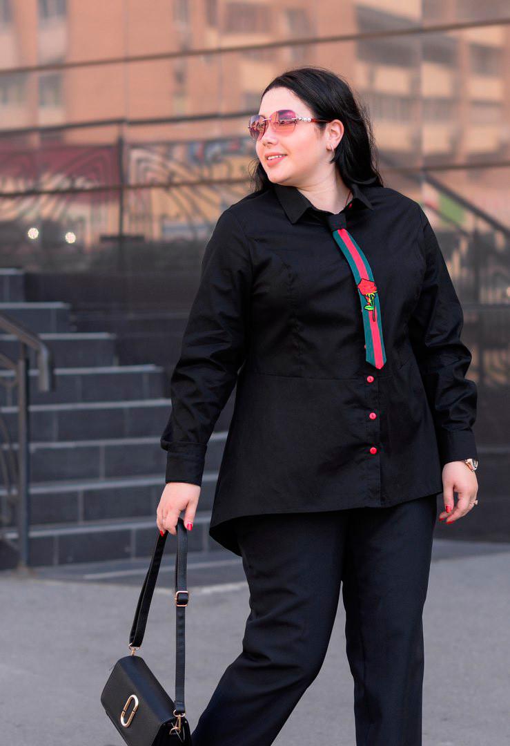 988da3426e1 Стильная женская рубашка больших размеров Галстук черная (48-74 ...