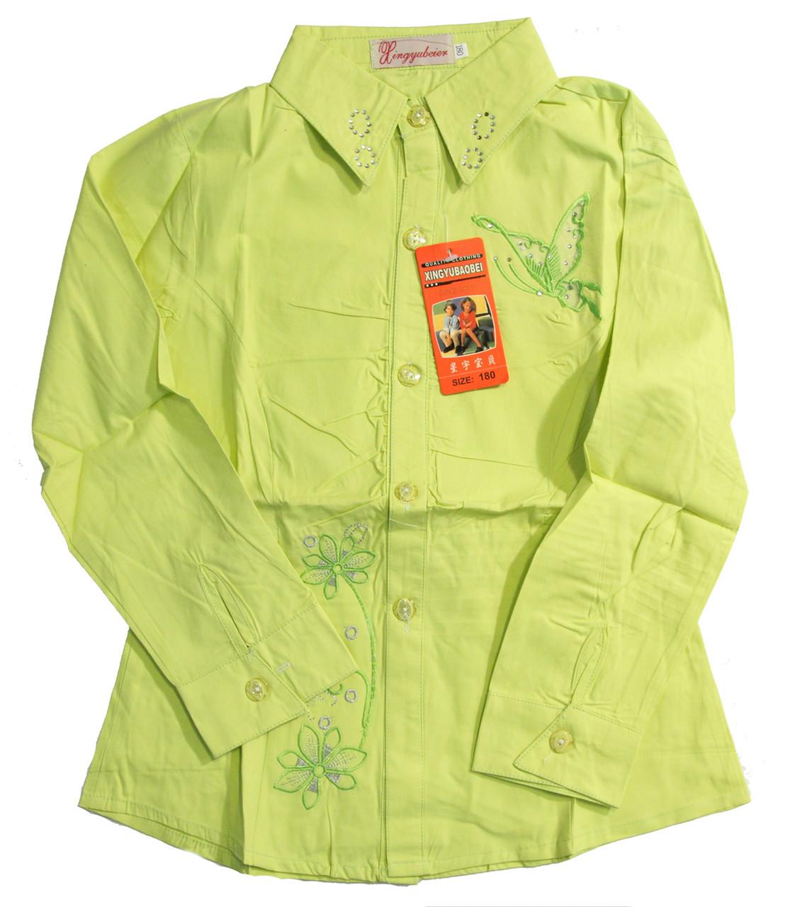 Рубашка для девочек, салатовая (7-10 лет)