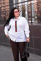 Стильная женская рубашка больших размеров Галстук белая