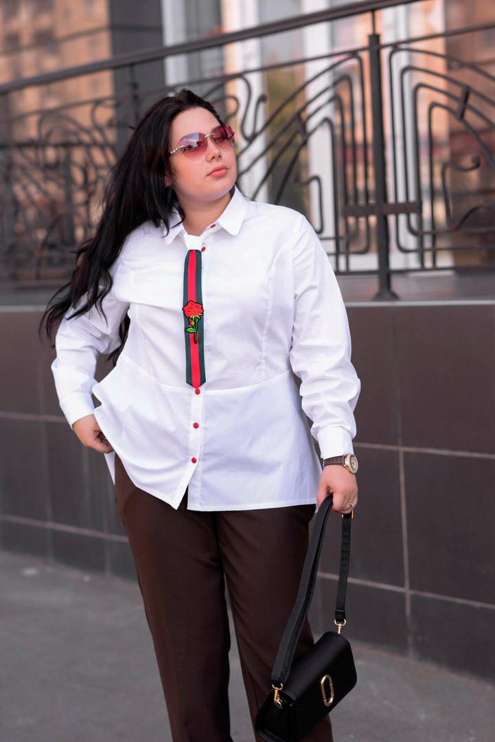 36de7aac907 Стильная женская рубашка больших размеров Галстук белая (48-74) - DS Moda -