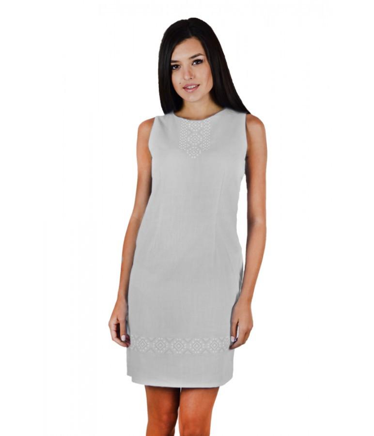 Платье вышитое. Бело - серое платье. Платье вышивка. Платье в украинском стиле. Платье вышиванка.