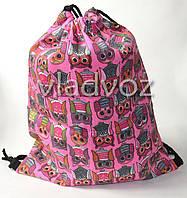 Рюкзак сумка для сменной обуви на шнурках сова малиновый