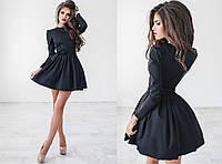 Женское однотонное платье с поясом 1039/1.2 ПА  M