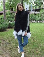 Черно-белый жилет из меха ламы