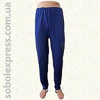 Спортивные мужские штаны с лямкой утепленные синие (Николаевский трикотаж)