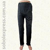 Спортивные мужские штаны с лямкой утепленные черные (Николаевский трикотаж)