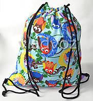 Рюкзак сумка для сменной обуви на шнурках голубой совы