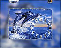Схема для вышивки бисером часы Дельфины