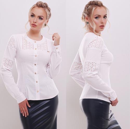 0f5cf1cc9232 Нарядная белая блузка с длинным рукавом 10019, цена 370 грн., купить ...