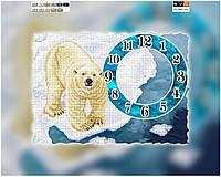 Схема для вышивки бисером часы Белый мишка