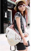 Тканинний міський рюкзак в горошок і з гудзичками, фото 2