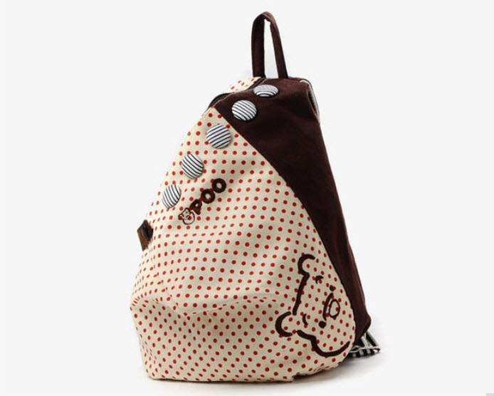 Тканевый городской рюкзак в горошек и с пуговками