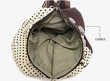 Тканевый городской рюкзак в горошек и с пуговками, фото 3