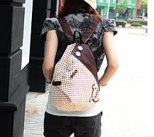 Тканевый городской рюкзак в горошек и с пуговками, фото 2