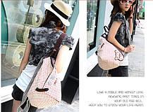Тканинний міський рюкзак в горошок і з гудзичками, фото 3