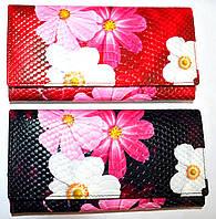 Женские кожаные кошельки с цветами на кнопке 19*10, фото 1