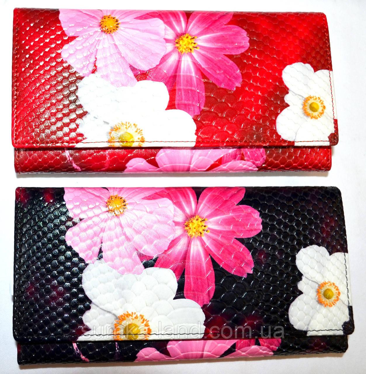 Женские кожаные кошельки с цветами на кнопке 19*10